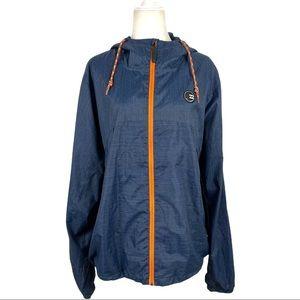 Billabong Men's Hooded Windbreaker Blue Jacket XL